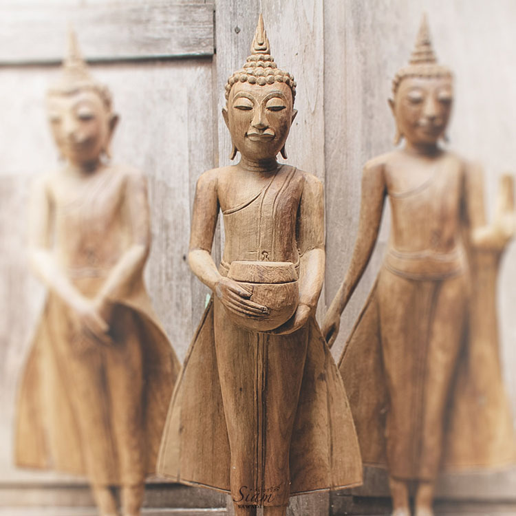 Large Buddha Statue Wood Carving Image of the Standing Buddha on Lotus Flower. Open Earth Gesture A Powerful Feng shui Decor to your Home 5 - Wooden Buddha Statue Holding an Alms Bowl
