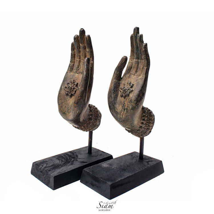 Pair of Buddha Hand Statues Teaching Gesture Bronze Buddha hands Sculpture Offering Blessings and Protection 2 - Buddha Hand Statues Freedom Gesture in Pair