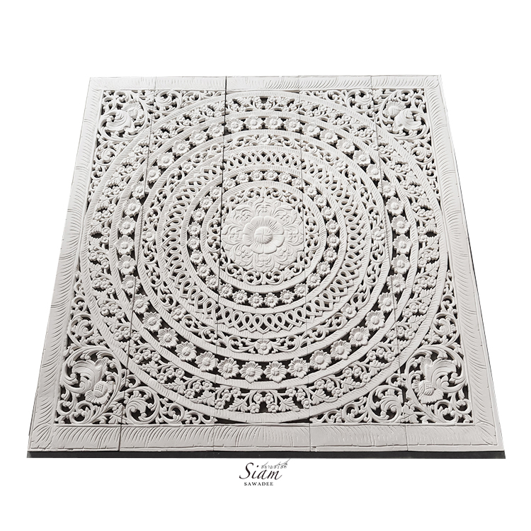 White01 - Wood Carving Bed Panel with Moroccan Design