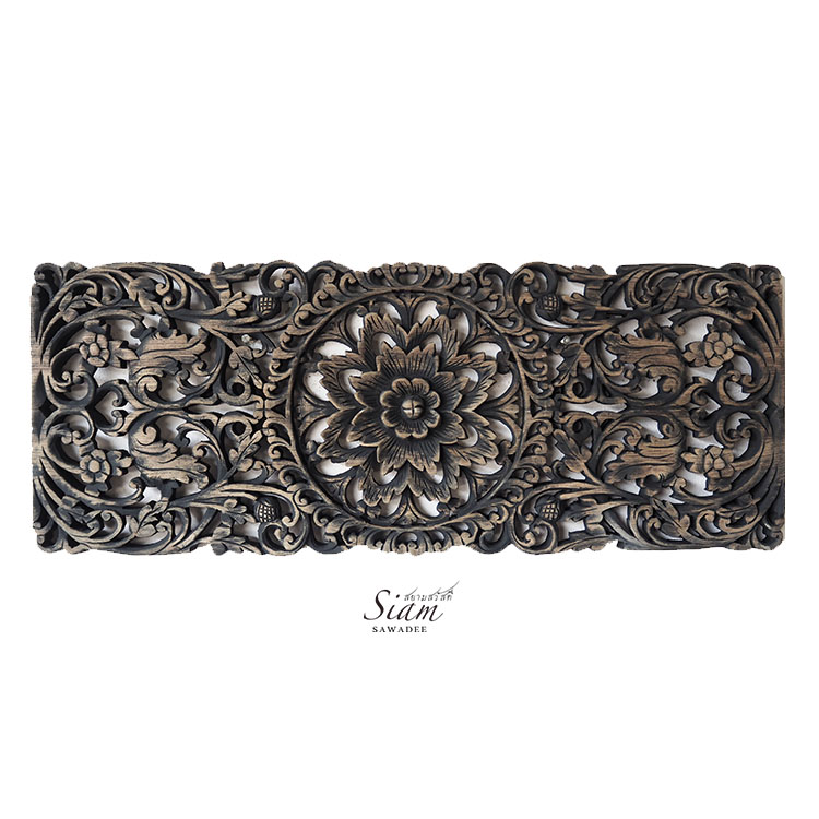 wall decor panel carved teak wood floral wall plaque handcrafted reclaim teak wood from thailand - Floral Carved Wooden Wall Art Panel