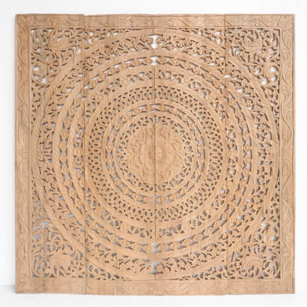 Natural Wooden Moroccan Wall Art Panel Hand Carved In Thailand Teak Wood 600x600 - Wood Carving Wall Panel with Moroccan Design