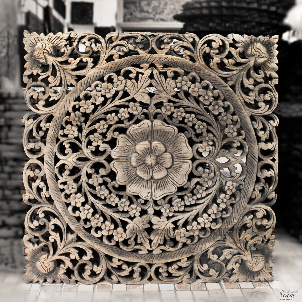 Decorative Wood Wall Panel. Traditional Floral Wood Carved Wall Hanging from Thailand 1200x1200 - Thai Motif Floral Carved Wood Wall Hanging