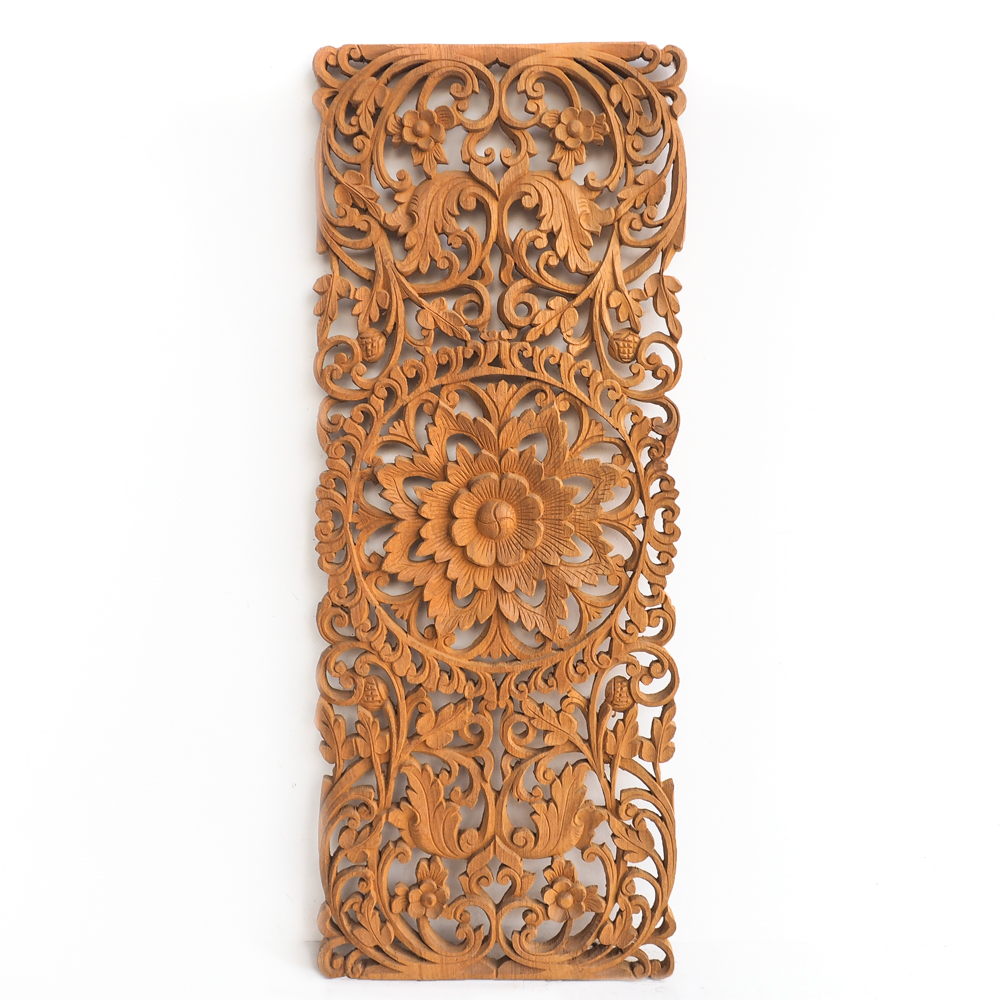 Floral Carved Wooden Wall Art Panel Acacia Wood Carving Handmade By Thai Artisans Chiang Mai 1 - Floral Carved Wooden Wall Art Panel
