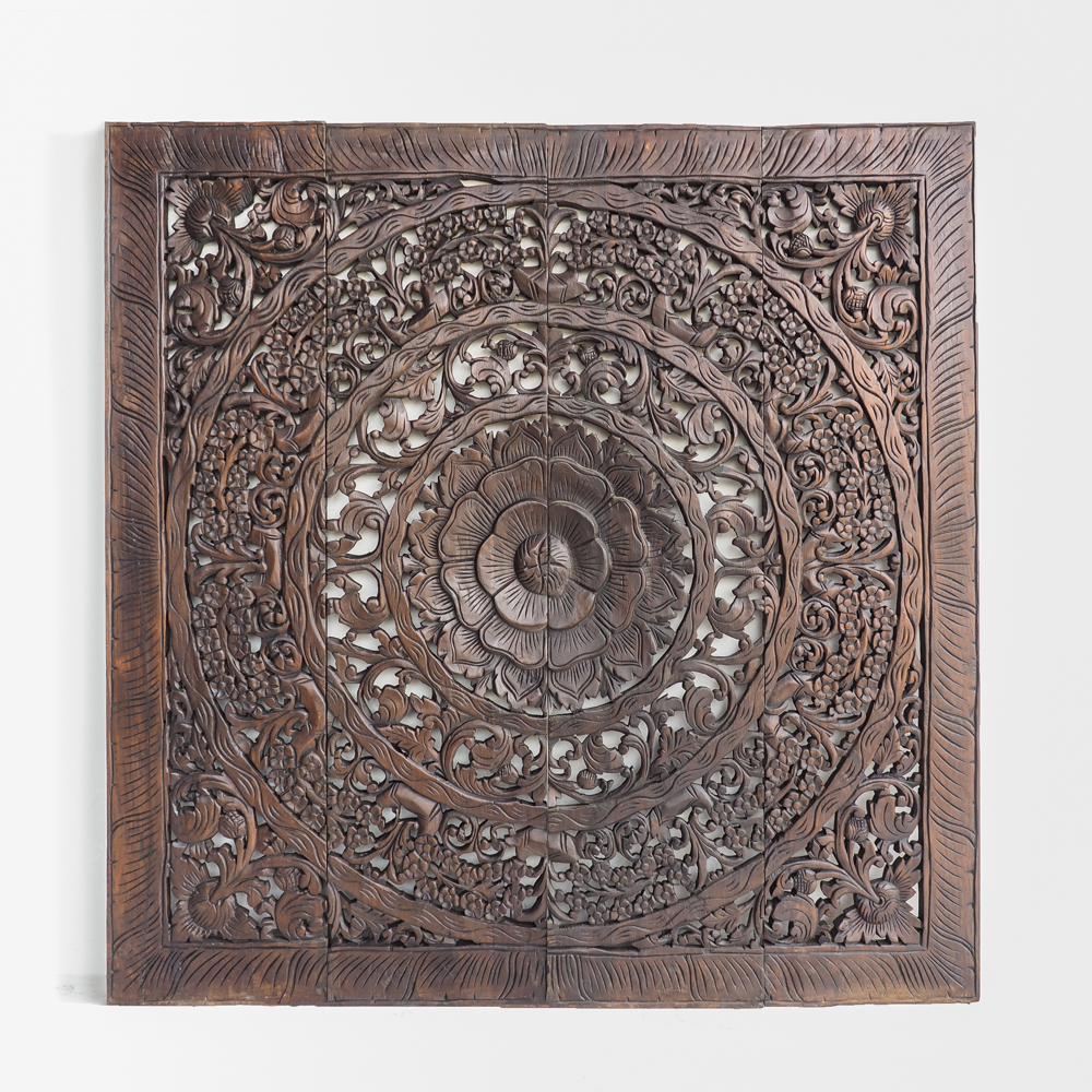 Hand Carved Lotus Blooming Wooden Panel Made In Chiang Mai Thailand 1 - Elegant Lotus Carved Wall Hanging Panel