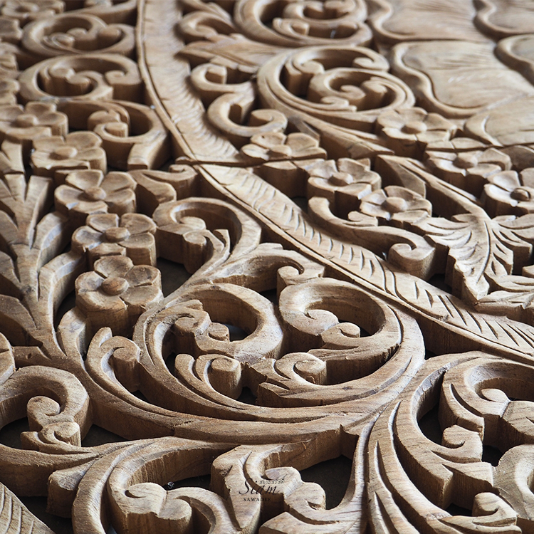 Hand Carved Wood Queen Bed Headboard Thai Decorative Lotus Wall Paneling Teak Carving Wall Art Panel Bedroom Decor 2 - Antique Wooden Bed Panel Wall Art Hanging