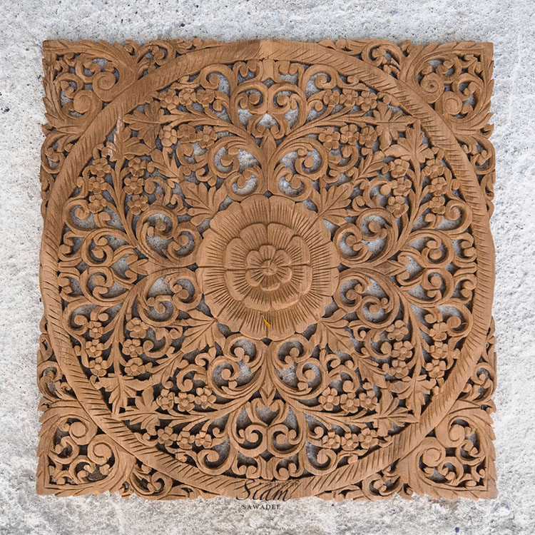 Lotus Wood Carving Wall Art Panel. Reclaim Teak Wood Sculpture. Wood Carving From Thailand - Rustic Antique Wood Carving Wall Art Hanging