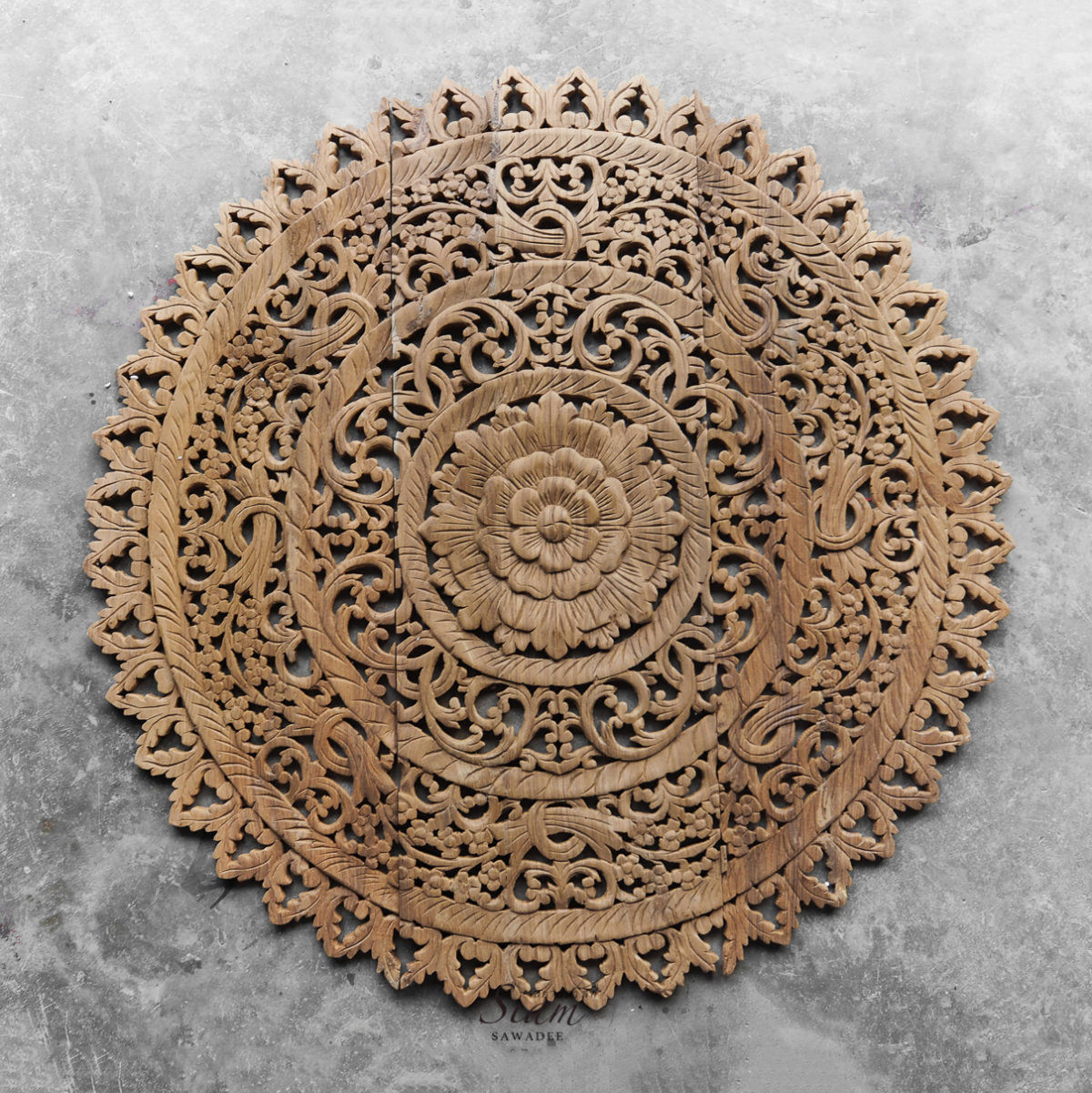 Natural Reclaim Teak Wood Carving Wall Panel From Thailand 3x3ft 1 1200x1201 - Distressed Mandala Carved Wood Wall Panel