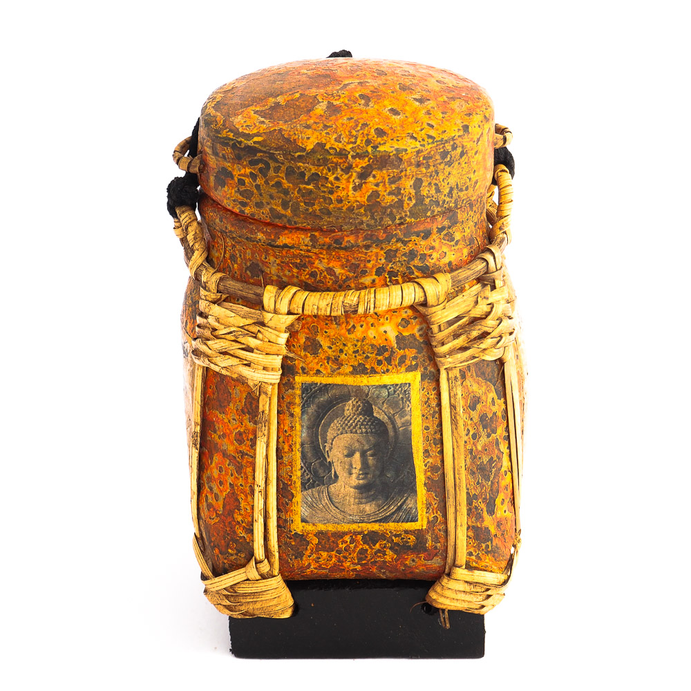 Thai rice box 171 - Buddha Image Painted Bamboo Woven Rice Pot