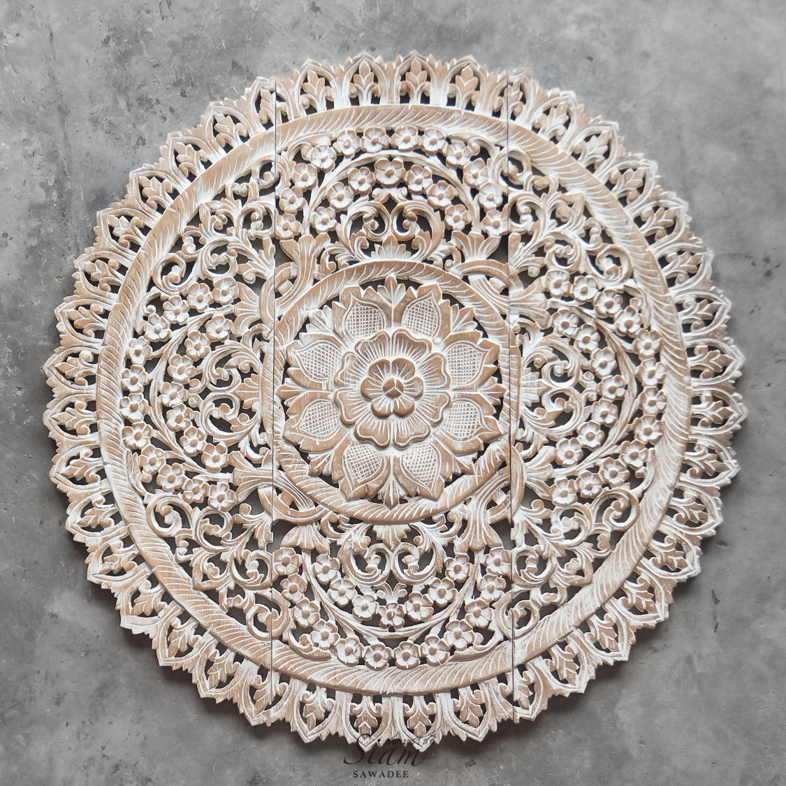 White Wash Wall Art Panel Reclaim Teak Wood From Thailand 3x3ft 1 - Mandala Wood Carving Wall Panel Decor