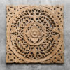 Wooden Lotus Wall Hanging Carving Wall Art Panel 100x100 - Carved Wooden Lotus Wall Hanging Panel