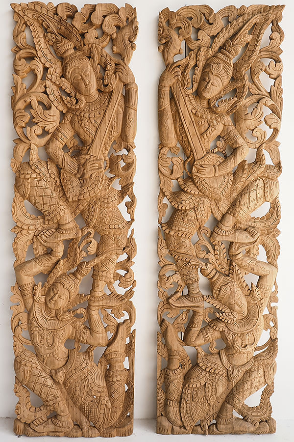 traditional farmhouse carving sculpture wall decor from Thailand-large 48x14 inches-brown finish