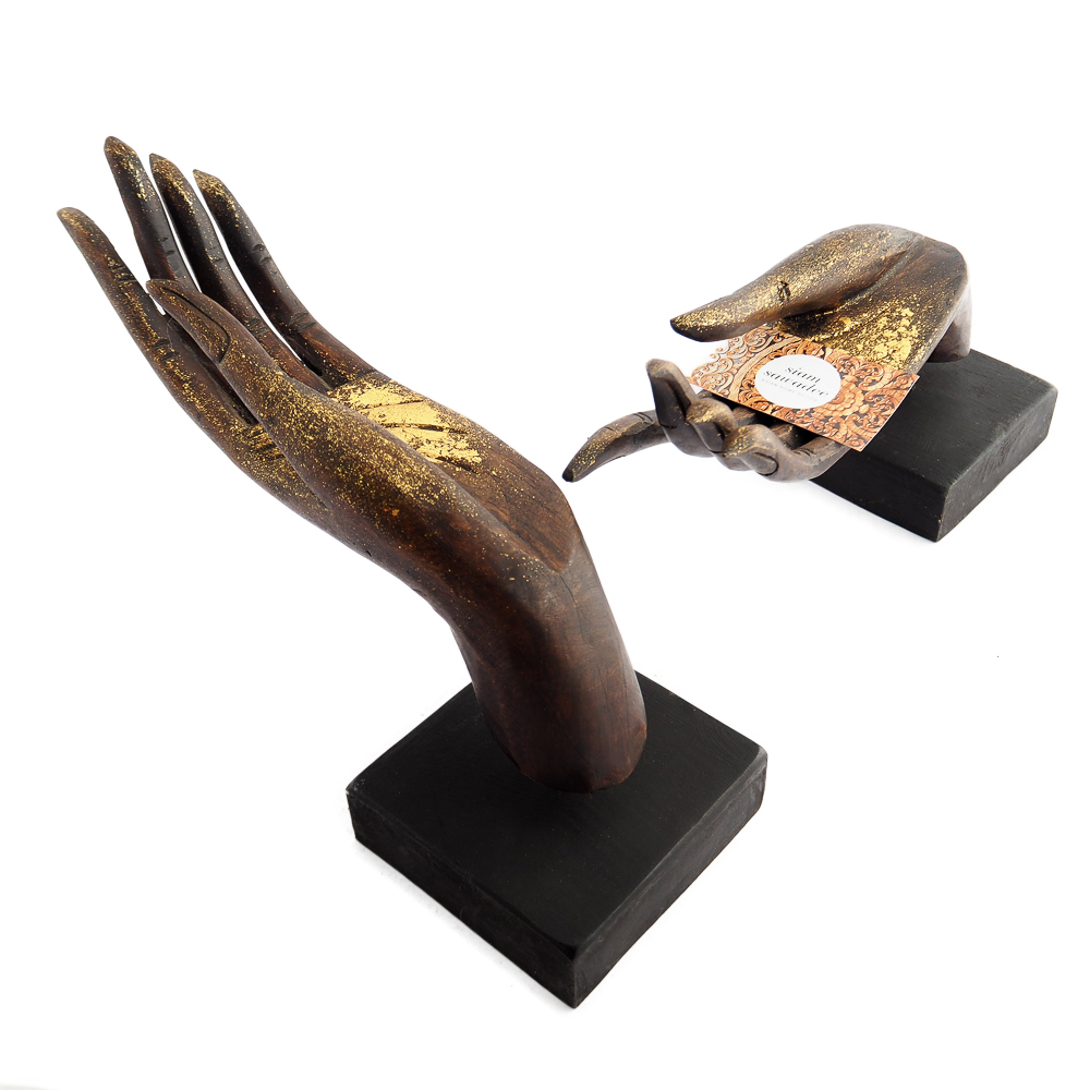 Buddha Mudra Hand Wood Carving Statue Thailand Dark Brown with Gold Pair Down 1 - A Pair of Wooden Varada Mudra Hand Statues