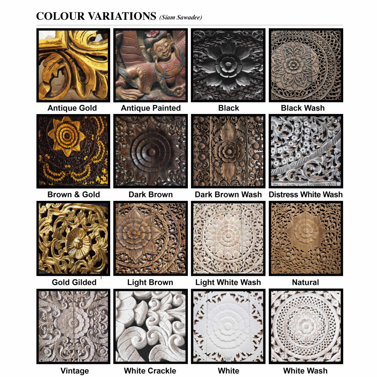 Colour variations 1200x1200 - Mandala Wood Carving Wall Art Paneling