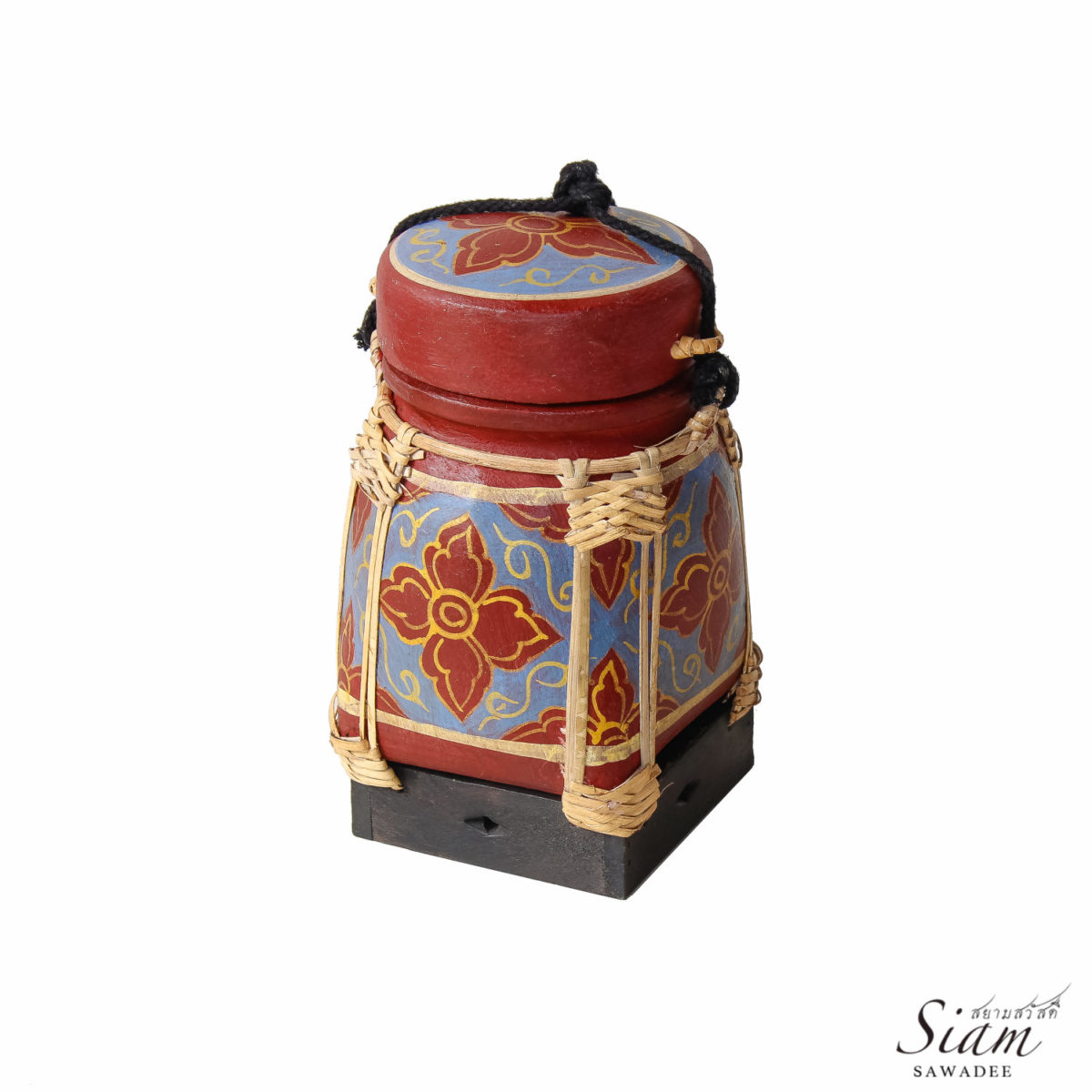 Thai Rice Storage Basket. Traditional Hand Painted Container made of Bamboo  1200x1200 - Hand Painted Floral Bamboo Food Container