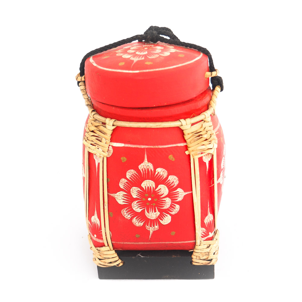 Thai rice box 249 - Rice Basket and Rattan Weaving Decorated Hand Painted Pot