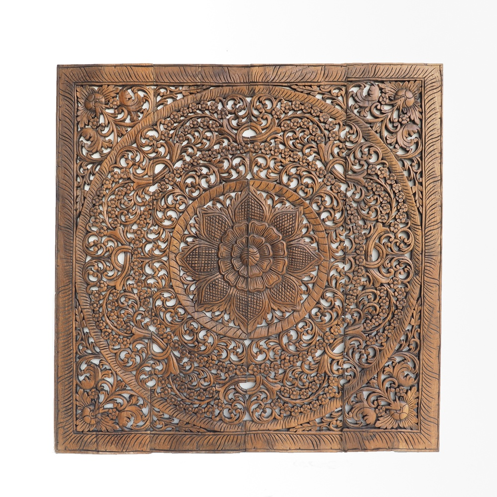 Flower Blossom Carved In Reclaimed Teak Wood From Northen Thailand - Oriental Decorative Wood Carving Wall Art Paneling
