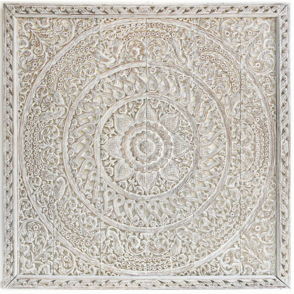 King size be panel wethered white wood carved motif flower design boho wall art hanging