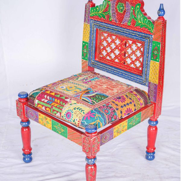 Beautiful Coloured Wooden Chair Hand Weaved Furniture