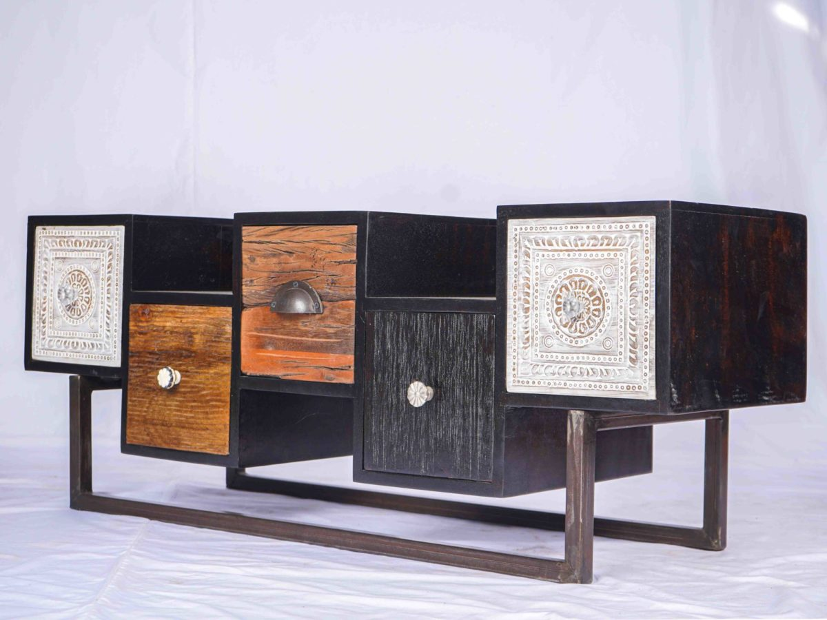 Drawers Living Room Cabinet Wooden Furniture Handmade in India